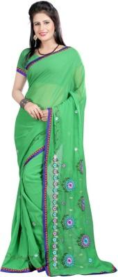 RajSilkCreation Embriodered Fashion Georgette Sari
