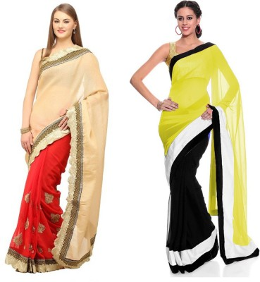 MA Solid Fashion Georgette Sari