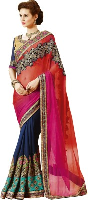 Indian E Fashion Embroidered Bollywood Georgette Sari(Multicolor) at flipkart
