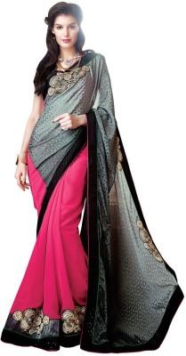 Desi Look Embriodered, Solid Bollywood Chiffon Sari
