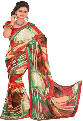 J Milan Graphic Print Daily Wear Georgette Sari