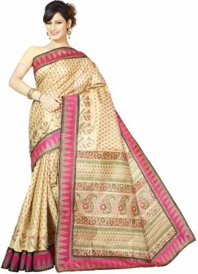 Rani Saahiba Applique Bhagalpuri Art Silk Sari(Pink)