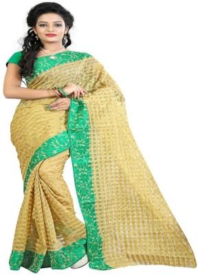 The Designer House Solid, Self Design, Checkered Banarasi Cotton, Jute Sari