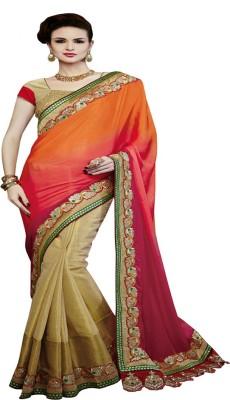 Dealtz Fashion Embriodered Fashion Crepe Sari