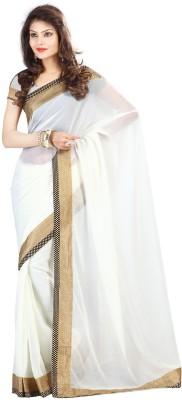 Vakiya Saree Self Design Fashion Chiffon Sari(White) at flipkart