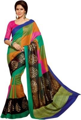 Textilebaba Floral Print Bhagalpuri Handloom Pure Silk Sari