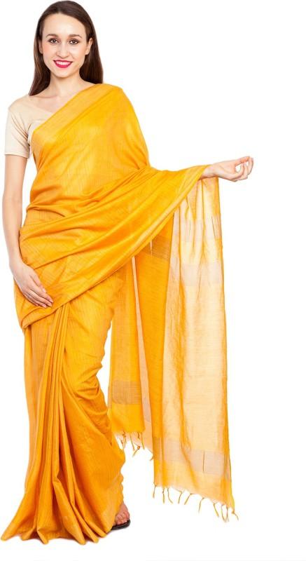 Elite Handicrafts Striped Bhagalpuri Handloom Silk Cotton Blend Saree(Yellow)