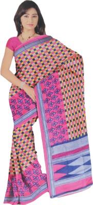 BPS Printed, Checkered Bhagalpuri Handloom Printed Silk, Art Silk, Khadi, Silk Cotton Blend Sari