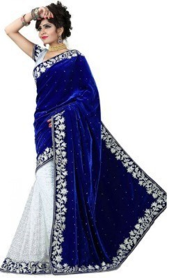 SMARTLOOK Embriodered Bollywood Velvet Sari