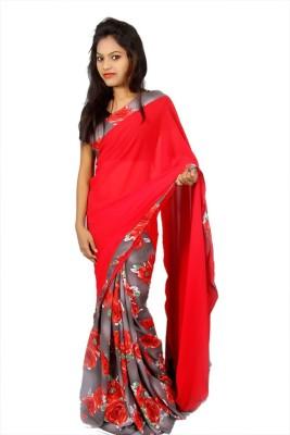 Creativz Hand Printed Daily Wear Georgette Sari