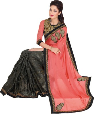 Queenbee Embellished, Embriodered, Self Design Fashion Chiffon, Brasso Sari