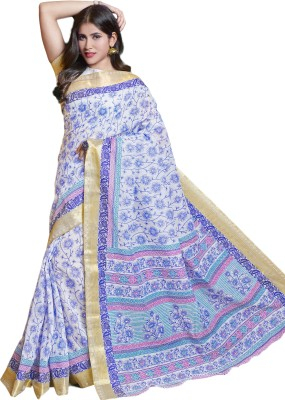 M.S.Retail Printed Gadwal Cotton Saree(White) at flipkart