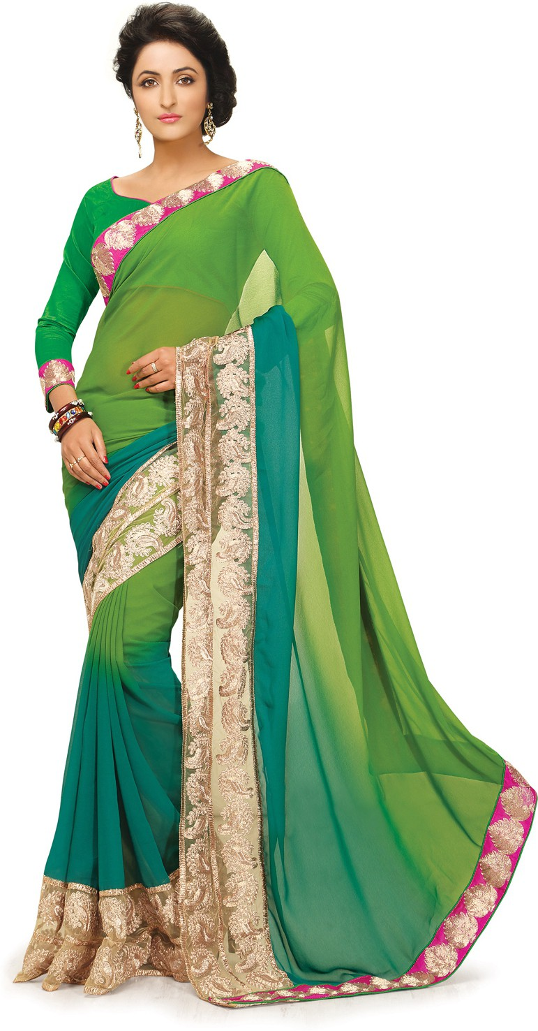 Indianbeauty Self Design, Embroidered Fashion Georgette Sari(Green)
