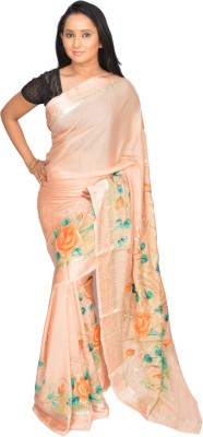 Siri Arts Floral Print Mysore Handloom Silk Sari
