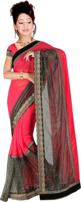 G-Tex Prints Embriodered Bollywood Synthetic Georgette Sari