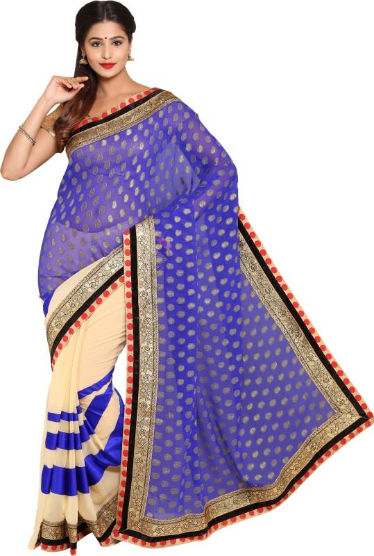 Aryahi Paisley Fashion Brasso Saree(Blue)