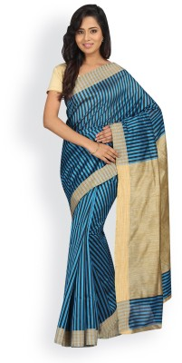 Pavechas Striped Banarasi Silk Cotton Blend Saree(Green, Black) at flipkart