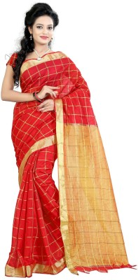 Needle Impression Printed Assam Silk Handloom Silk Sari(Red)