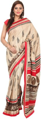 Kataan Bazaar Self Design Banarasi Tussar Silk Saree(Beige) at flipkart