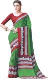 Vibes Printed Fashion Crepe Saree (Green...