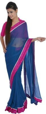 Inblue Fashions Solid Fashion Chiffon Sari