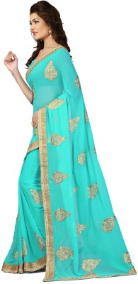 Oomph! Embroidered Fashion Chiffon, Chiffon Saree(Blue) at flipkart