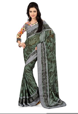 Ruddhi Self Design, Embellished, Embriodered Fashion Georgette Sari