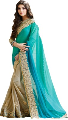 Sargam Fashion Embroidered, Self Design Bollywood Georgette Saree(Light Blue, Light Green, Beige) at flipkart