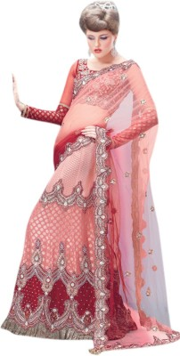 Triveni Self Design Fashion Chiffon Saree(Red) at flipkart