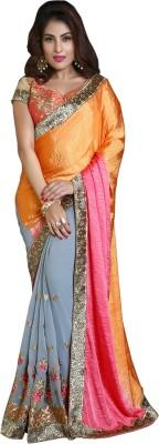 Khushali Self Design, Embriodered, Embellished Fashion Georgette, Crepe, Jacquard Sari