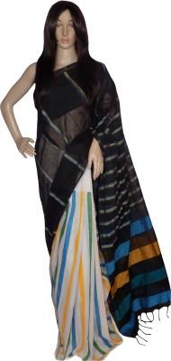 KheyaliBoutique Striped, Self Design Tant Handloom Cotton Sari