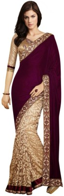 Vihana Embroidered Bollywood Georgette Saree(Maroon) at flipkart