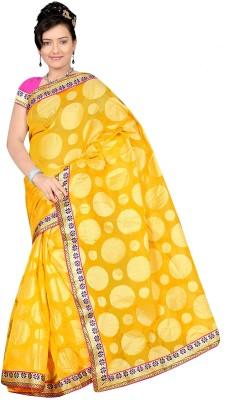 Chirag Sarees Self Design Banarasi Cotton Sari(Yellow)
