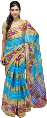KALYANAM Checkered Maheshwari Silk Sari