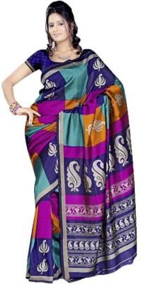 Peecaso Checkered, Geometric Print Mysore Art Silk Sari