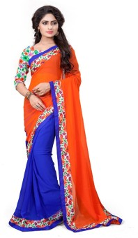 Indian E Fashion Self Design, Plain Bollywood Georgette Sari