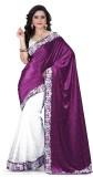 JENNY Solid Bollywood Velvet Saree (Purp...