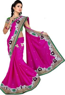 Shivam Fashions Embriodered Bollywood Cotton Slub Sari