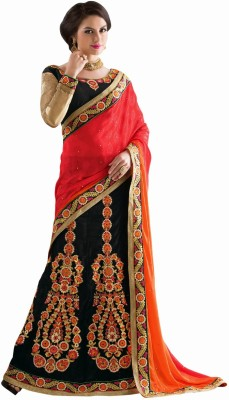 Aasvaa Self Design Lehenga Saree Jacquard Saree(Black) at flipkart