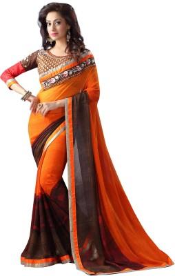 Gerbera Designer Embriodered, Printed Fashion Georgette Sari