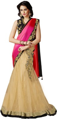 Odhni Embroidered Bollywood Net Saree(Beige, Red, Pink) at flipkart