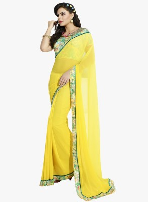 Patiala House Plain Fashion Georgette Sari