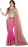 Ashika Printed Fashion Net Saree (Pink)