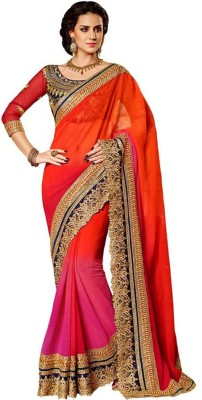 Rudra Fashion Embroidered Bollywood Georgette Saree(Orange) at flipkart