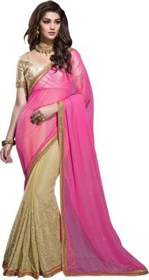 Crafts N Culture Embriodered, Woven Fashion Chiffon Sari