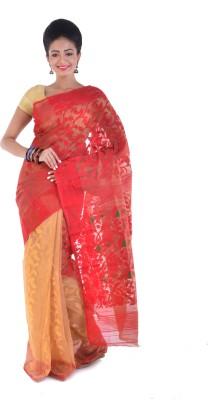 Taniis Self Design Jamdani Handloom Cotton Sari