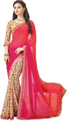 KL COLLECTION Plain, Floral Print Fashion Chiffon Sari