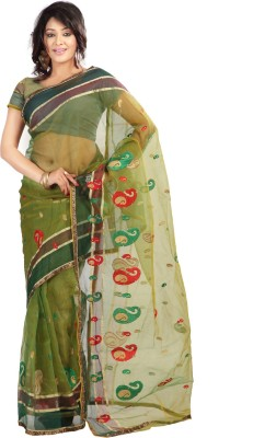 Florence Embroidered Fashion Tissue Saree(Green) at flipkart