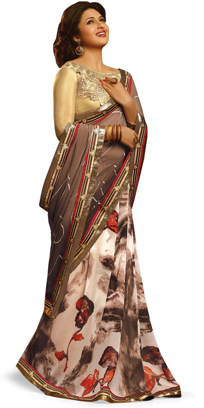 Indianbeauty Self Design, Printed, Embroidered Bollywood Pure Georgette Saree(Grey)