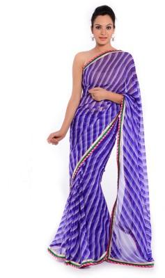 Geroo Embellished Leheria Georgette Saree(Purple) at flipkart